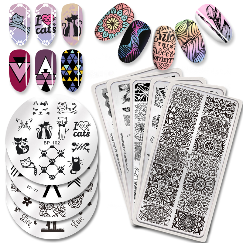 BORN PRETTY Flower Animal Nail Stamping Plates Striped Line Pattern Stainless Steel DIY Image Print Nail Art Stamp Template