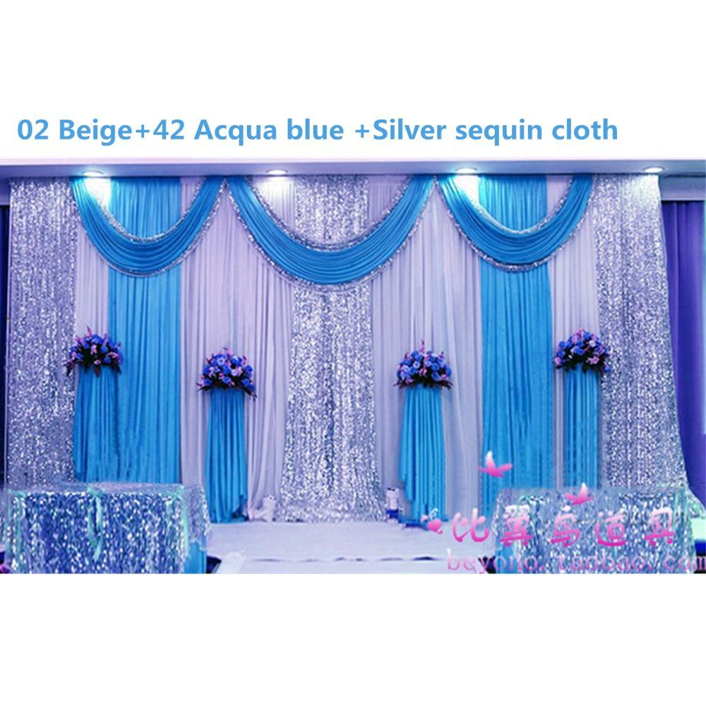 Glace soie Sequin tissu draperie mariage fond voiles mariage décoration draperie anniversaire célébration toile de fond 3m x 6m