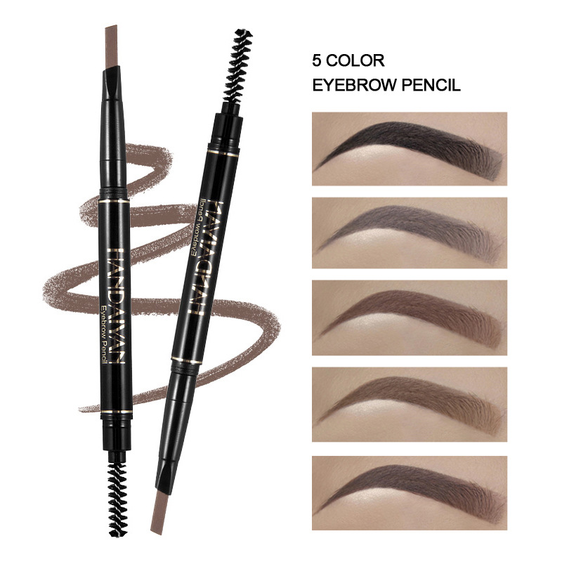 HANDAIYAN 5 Color Double Ended Eyebrow Pencil Waterproof Long Lasting No Blooming Rotatable Triangle Eye Brow Tatoo Pen Pencil