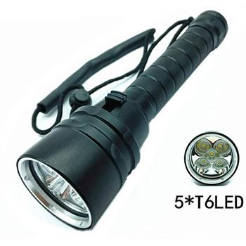 5*XM-L T6 LED Diving Scuba Flashlight Underwater 100m Fishing Dive Torch Light 18650 Marine Diver Light 1Mode цена 2017