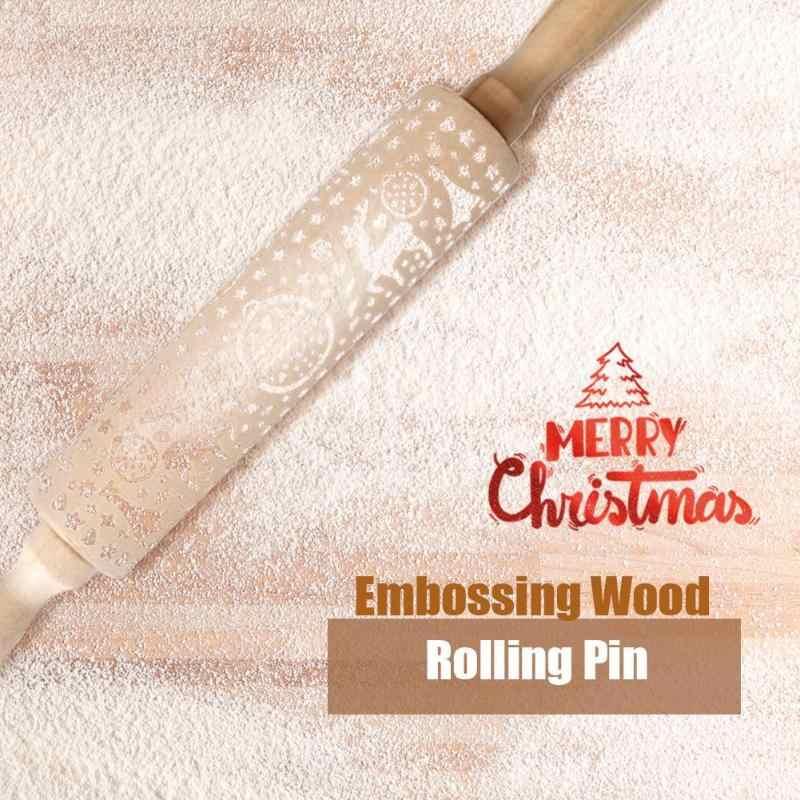 VKTECH Di Natale di Rotolamento Spille Laser di Legno Di Natale Goffratura di Rolling Spille Pasta Bastone di Cottura Attrezzo Della Pasticceria Decorazione di Nuovo Anno