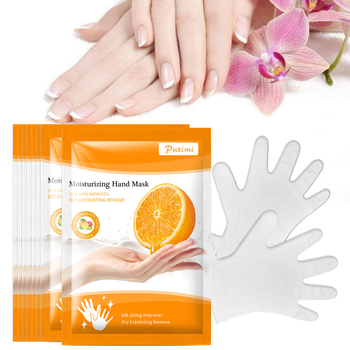 PUTIMI 2pair Orange Hand Mask Cream Anti Dry Moisturizing Hand Mask Skin Care Whitening Anti-Aging Exfoliating Hand Spa Gloves недорого