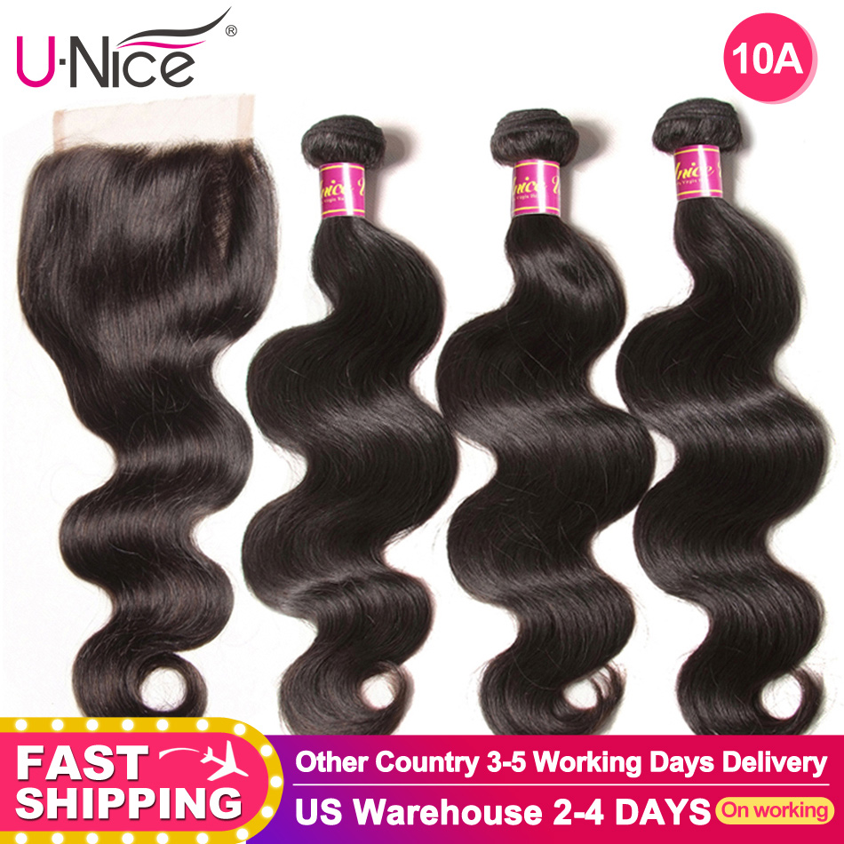 UNICE Hair Closure Weaving Body-Wave Wavy Color 3-Bundles 100%Human-Hair Brazilian  title=
