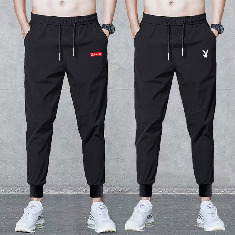 Summer Thin Section MEN'S Casual Pants Quick-Dry Pants MEN'S Trousers Youth Breathable Large Size Sports Ankle Banded Pants Air