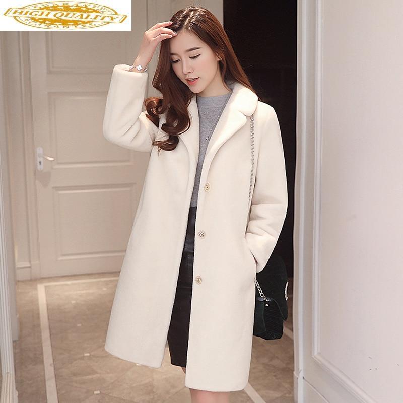 2020 Real Fur Coat Female Autumn Winter Woman Coat Korean Jacket Sheep Shearing Wool Fur Coats Long Abrigo Mujer KJ893