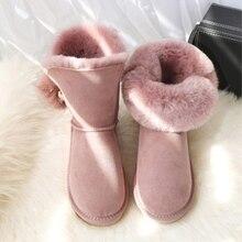 G&Zaco Winter Sheepskin Boots Fox Fur Ball Calf Women Boots Wool Fur G Snow Boots Rubber Flat Sheep Fur Boots Warm Women's Shoes