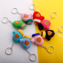 Cute  Fur Pompoms Key Chains Hand Made Women Bag Car knits Glove Pendant Keychain