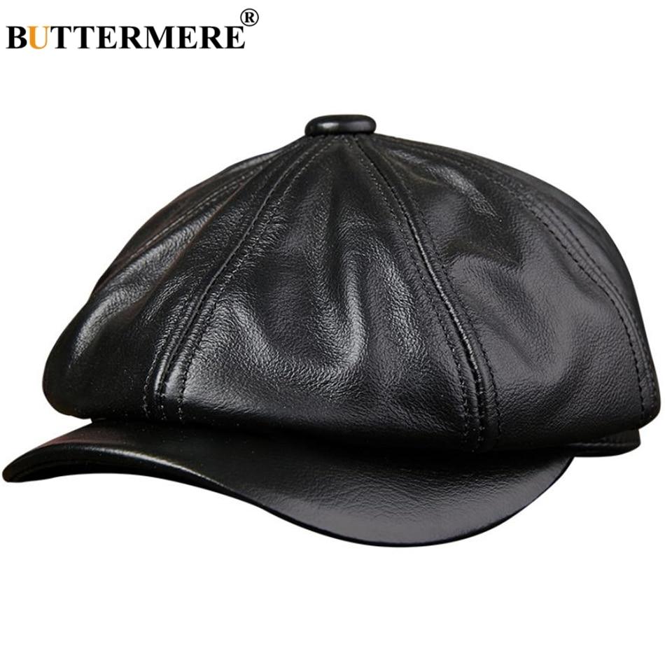 BUTTERMERE Genuine Leather Newsboy Cap Men Real Leather Winter Hat Black Brown Vintage Brand Octagonal Cap For Men Flat Cap