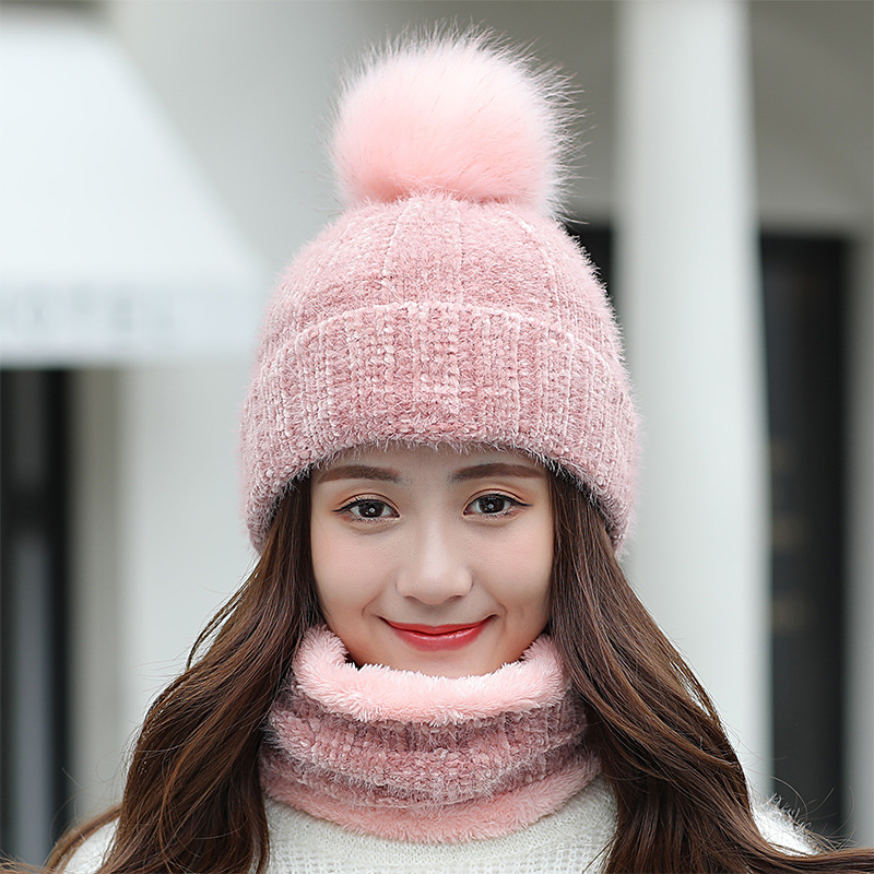 Hat Scarf Set Winter Women Plus Velvet Thick Warm Outdoor Sport Chenille Knit Hat And Scarf Korean Female Beanies Caps F24810AD