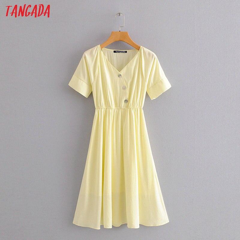 Tangada модное женское однотонное желтое летнее платье с коротким рукавом, с эластичной талией, женское рабочее платье миди, vestidos HY30