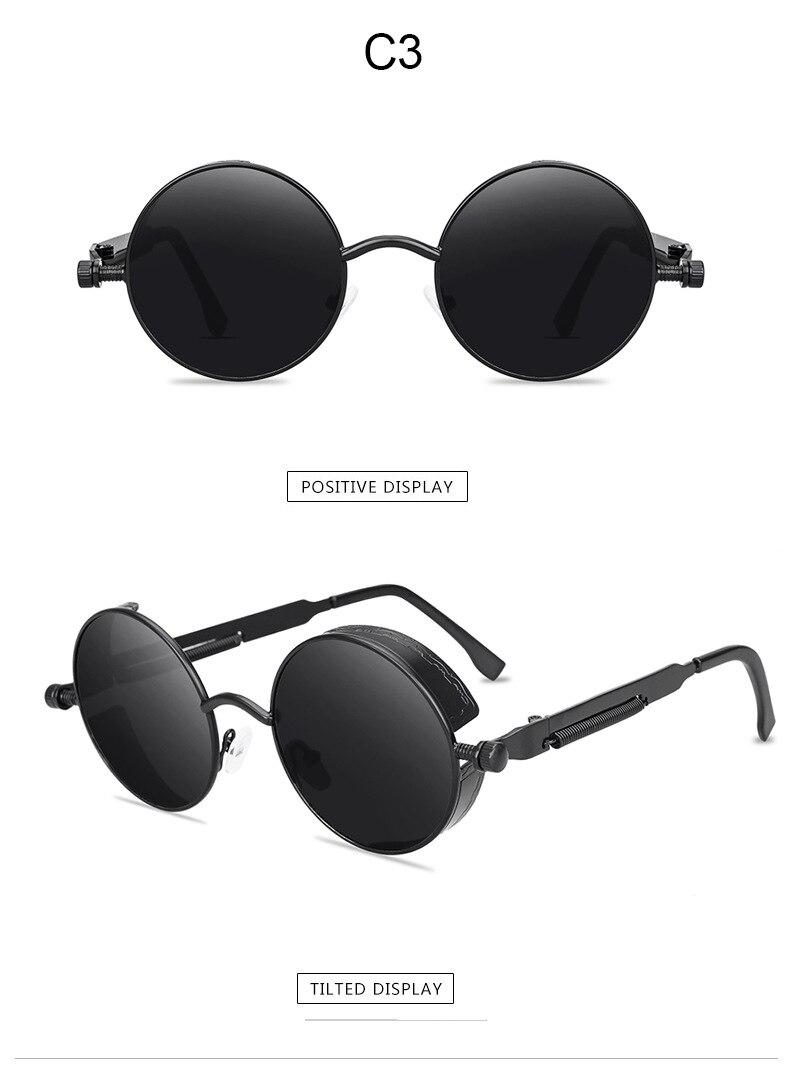 Classic Round Sunglasses For Men And Women Vintage Round  Brand Designer Sun Glasses Metal Frame Black Lens Eyewear UV400