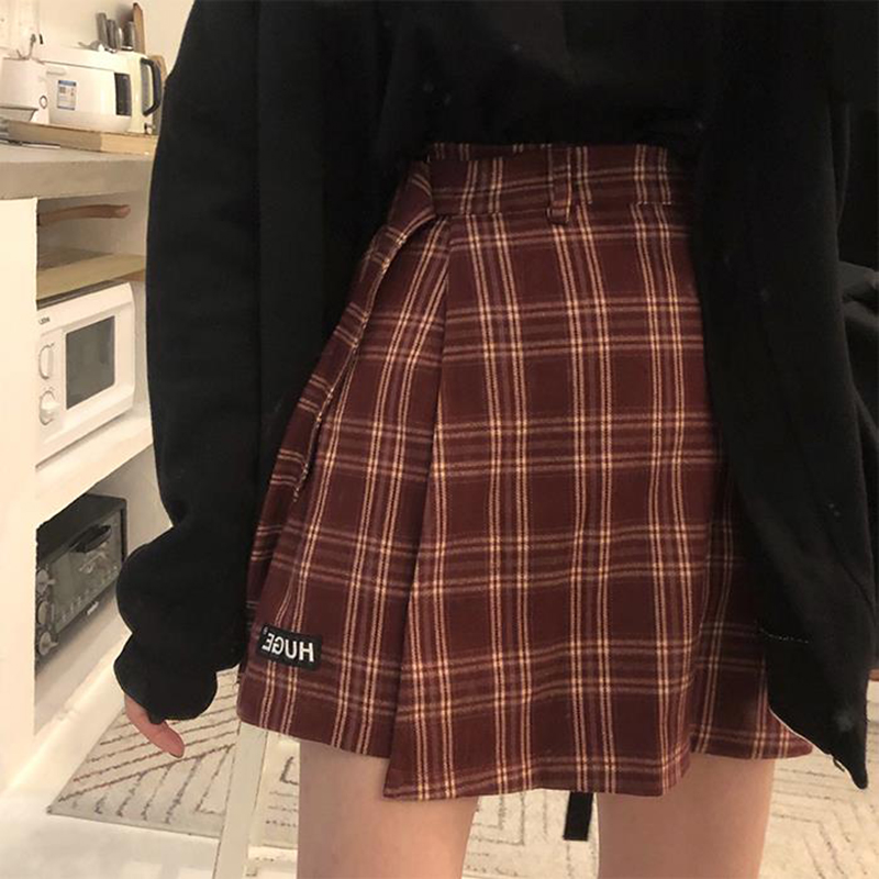 Basic Fashion All Match Plaid Skirt Vintage Irregular High Waist College Wind New Korea Fashion Female Women Mini Skirts