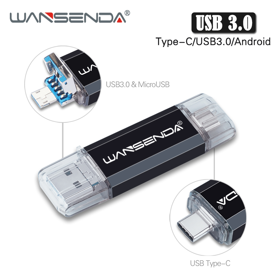 New WANSENDA Usb 3.0 Type C Usb Flash Drive 128GB OTG Pen Drive 512GB 256GB 64GB 32GB 16GB Pendrive Micro Usb Stick Memory Disk
