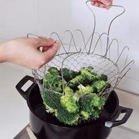 Pliable vapeur rinçage souche acier inoxydable friture panier passoire tamis maille crépine cuisine outils de cuisson accessoires Cocina 3