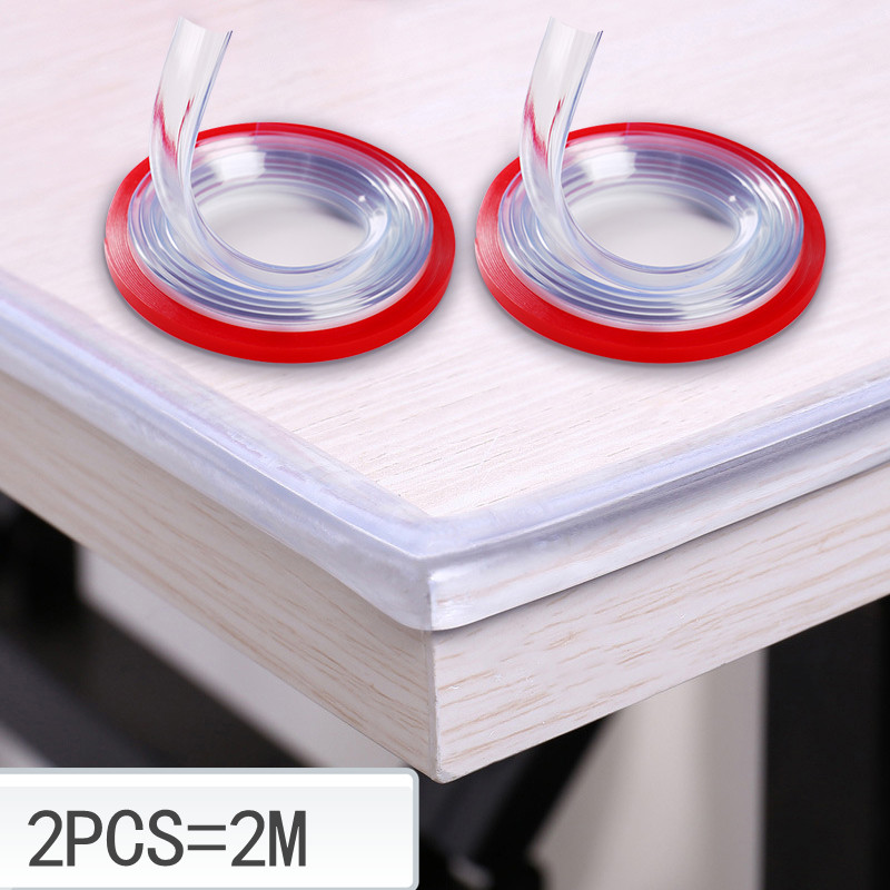 2M Transparent Table Edge Furniture Guard Corner Protectors Bumper Strip with Double-Sided Tape for Cabinets, Tables, Drawers