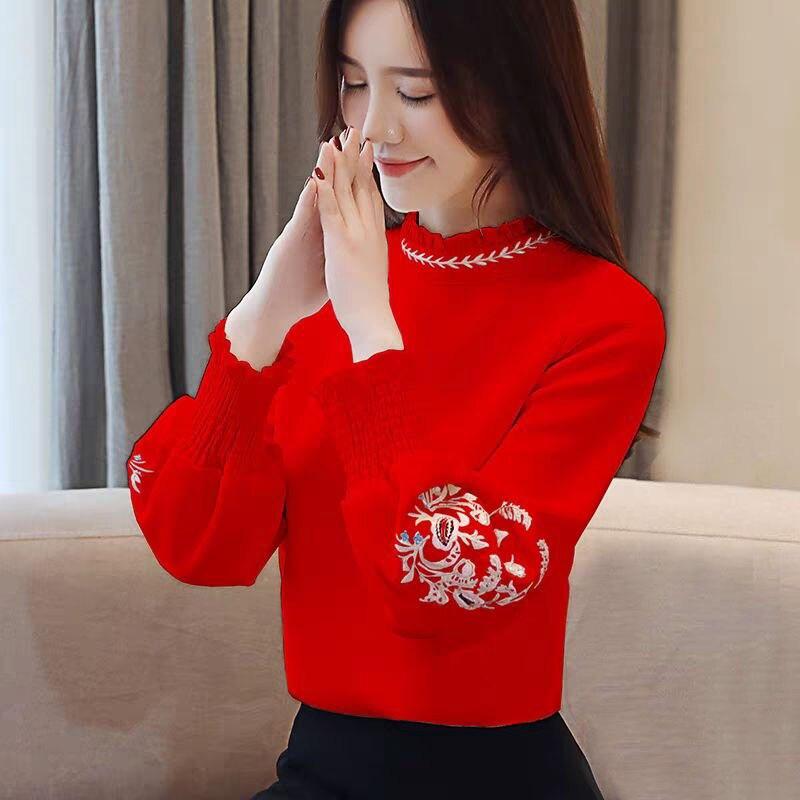 Autumn Elegant Office Shirt Women Puff Sleeve Loose Ladies Tops Embroidery Ruffle White Chiffon Work Blouse Long Sleeve