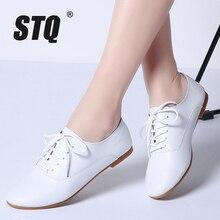 Mocassins en cuir véritable pour femmes, chaussures de ballerine 2020 blanches, STQ chaussures plates, chaussures Oxford, 051, printemps à lacets