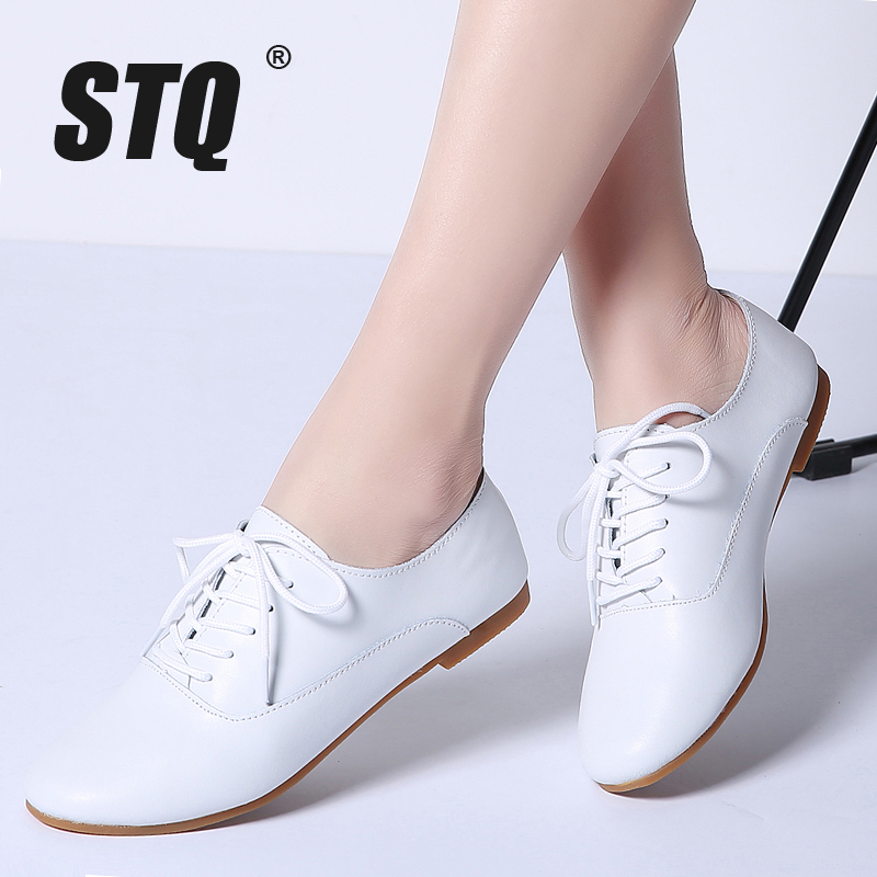 STQ 2020 Spring Women Oxford Shoes Ballerina Flats Shoes Women Genuine Leather Shoes Moccasins Lace Up Loafers White Shoes 051