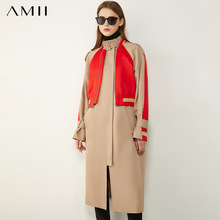 Amii Minimalism Winter Fashion Women's Trench Coat Causal StandCollar Patchwork Women's Trench Coat Women's Trench Coat 12070382