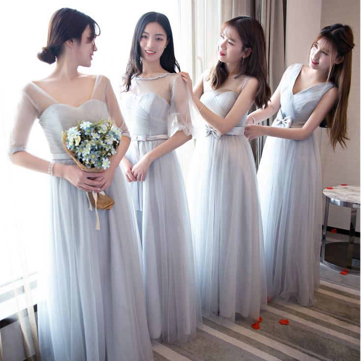 Gray Plus Size Tulle Burgundy Bridesmaid Dress Guest Wedding Party Elegant Floor-Length Sexy Long Party Prom New Years Eve Dress