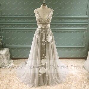 Image 3 - Mryarce vestido de novia gris con apliques florales de encaje, cuello en V, elegante, plateado, espalda descubierta