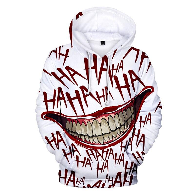 2019 New Joker 3D Print Sweatshirt Hoodies Men And Women Hip Hop Funny Autumn Streetwear Hoodies Sweatshirt For Couples Clothes