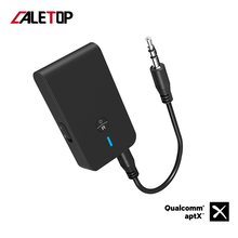 CALETOP APTX الكمون المنخفض بلوتوث 5.0 جهاز ريسيفر استقبال وإرسال 2 في 1 3.5 مللي متر الصوت محول لاسلكي لسيارة تلفزيون الكمبيوتر المتكلم سماعة