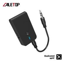 CALETOP APTX krótki czas oczekiwania Bluetooth 5.0 nadajnik odbiornik 2 w 1 3.5mm Audio adapter bezprzewodowy dla telewizor samochodowy głośnik do komputera słuchawki