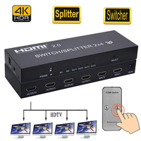 4K HDMI 2 in 4 out 2.0 HDMI Switch Splitter 2x4 SPDIF 3.5mm Audio Extractor Converter Adapter Remote Control 3D 1080p DTS AC3
