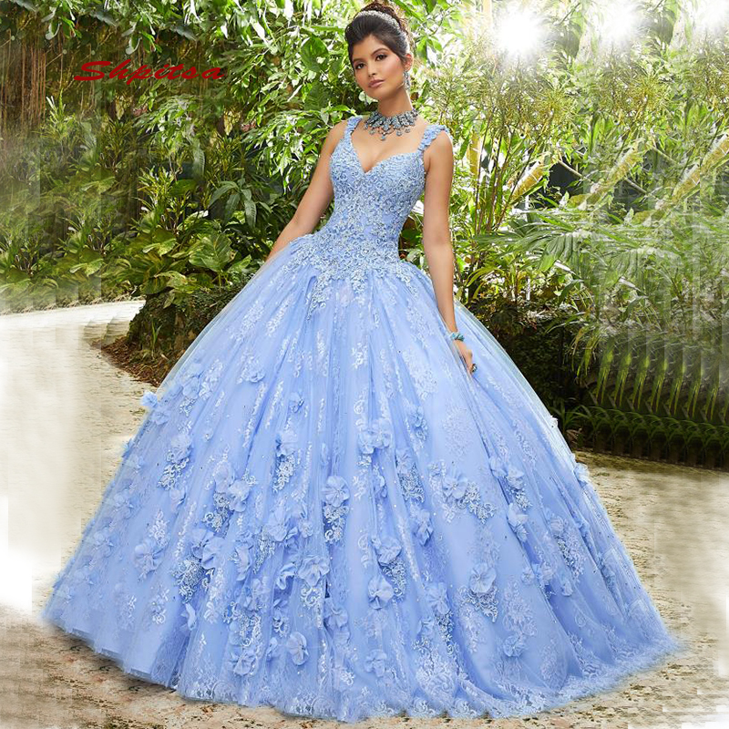 Light Sky Blue Quinceanera Dresses Sweet 16 Princess Lace Ball Gown Prom Dresses Gown For 15 Years