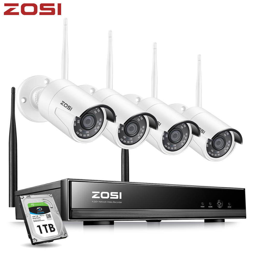 ZOSI 8CH Wireless CCTV System H.265 1080P NVR 2MP IR-CUT Outdoor Video Recorder Camera IP Security System Video Surveillance Kit