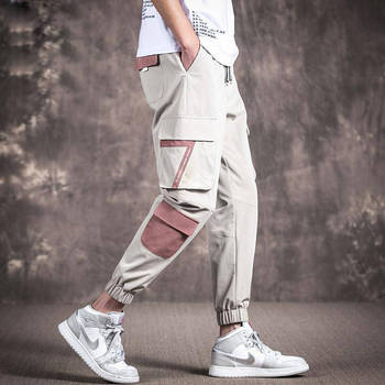 2020 męskie kamuflaż taktyczne spodnie w stylu cargo mężczyźni biegaczy Boost wojskowe dorywczo spodnie bawełniane Hip Hop wstążka męskie spodnie wojskowe tanie i dobre opinie Acacia Person Cargo pants Plisowana COTTON Poliester NONE Luźne 28 - 40 78557 W stylu Safari Midweight Oxford Kostki długości spodnie