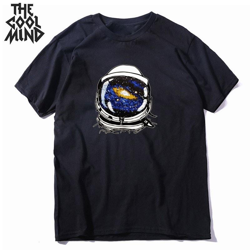 COOL MIND 100% Cotton O-neck Cool Space Print Men T Shirt Causl Loost Men Tshirt Summer T-shirt Mens Tee Shirts CR-c0107