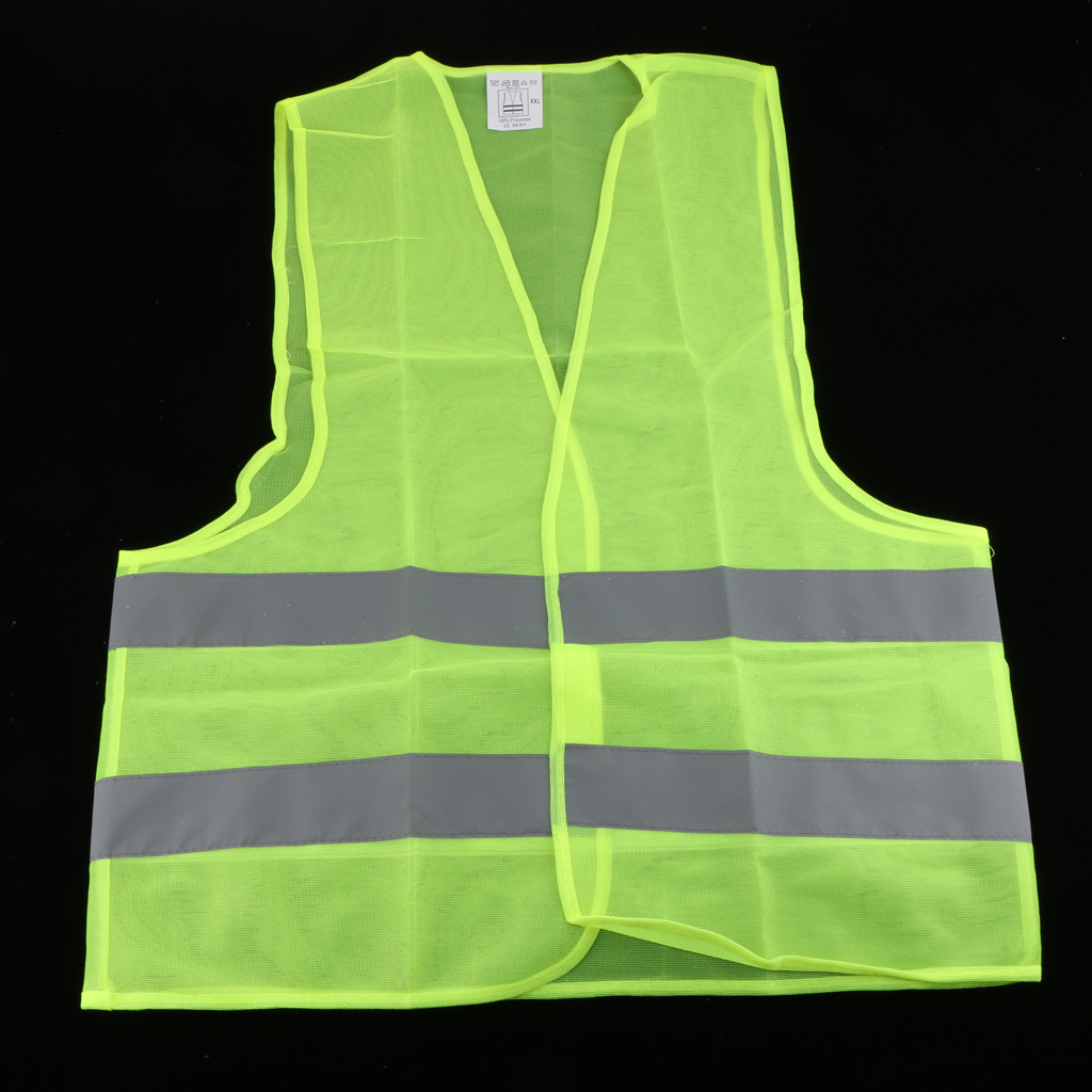 Neon Green Safety Vest Jacket With Reflective Strips High Visibility Large Size Refreshment
