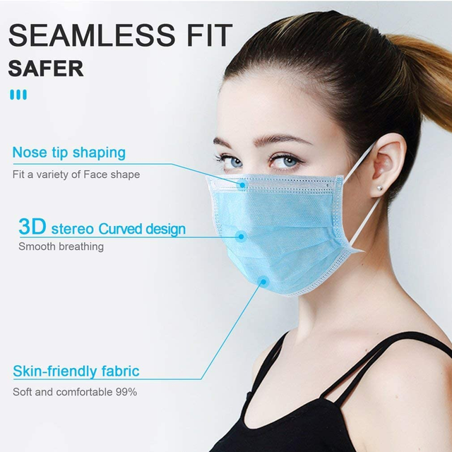 10-100pcs type Disposable  Face Mask quick ship Anti-Dust 3Layer Masks Anti Flu PM2.5 Breathable Masks Face Care Elastic Earloop 2