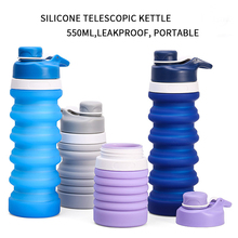 550ML Silicone Water Bottle Portable Folding Coffee Outdoor Travel Drinking Collapsible Sport Kettle Retractable Bottles