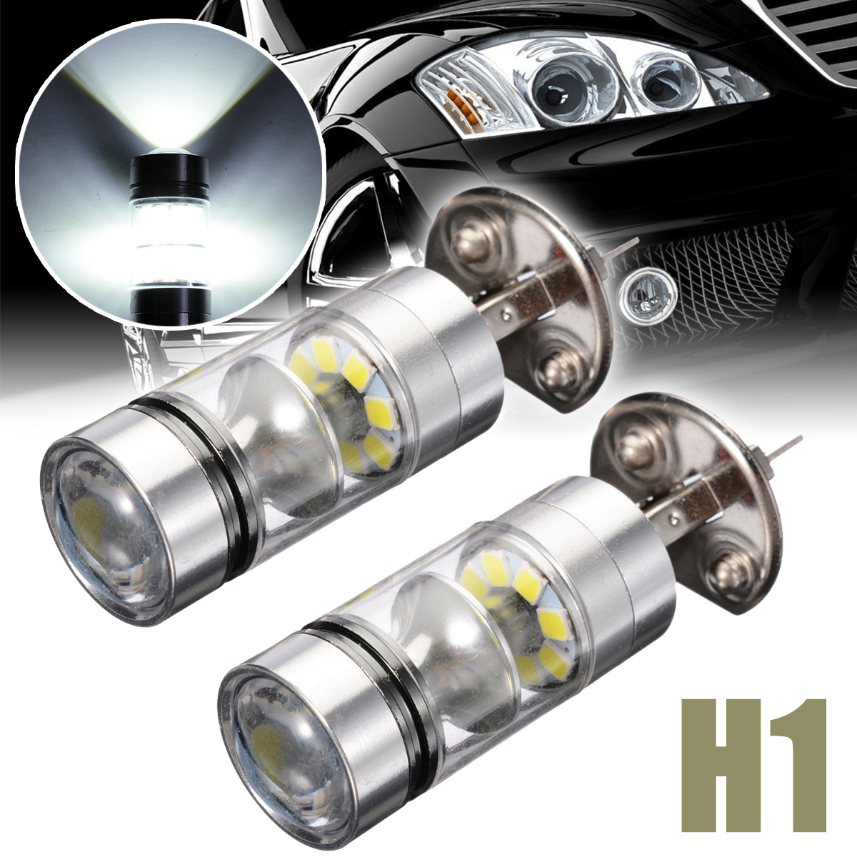 Treyues 2pcs H1 100W 2828 20LED 1000LM Car Fog Driving Light Day-time Running Motorcycle Head Lamp Bulb White