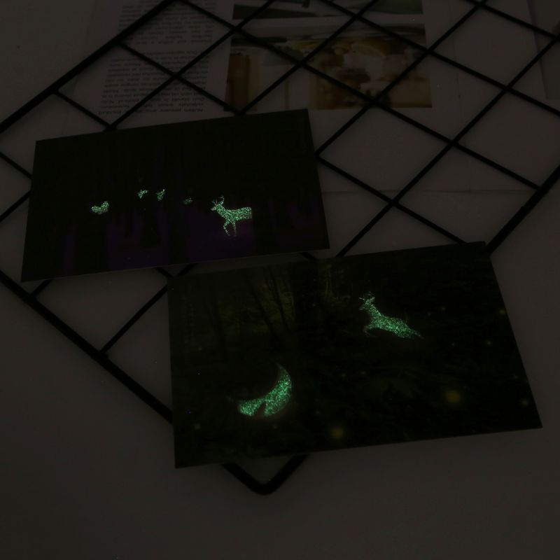 30pcs Vintage Luminous Postcard Glow In The Dark Forest Streamer Animal Greeting Post Card Novelty Xmas Greeting Cards Gift