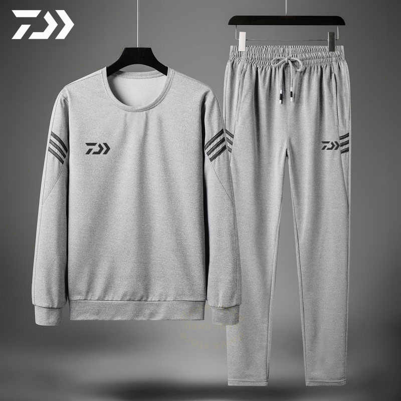 Daiwa Spring Autumn Fishing Suits Outdoor Sport Fishing Set Striped Fishing Clothing Men Sportswear Fishing Jacket Pants Suit