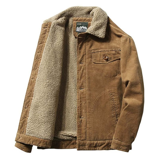 Mcikkny Men Warm Corduroy Jackets And Coats Fur Collar Winter Casual Jacket Outwear Male Thermal 1