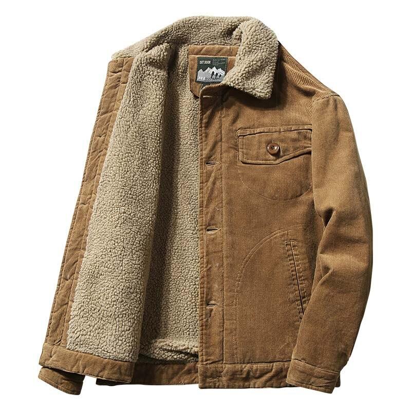 Mcikkny Men Warm Corduroy Jackets Coats Fur Collar Winter Casual Jackets Outwear Male Thermal