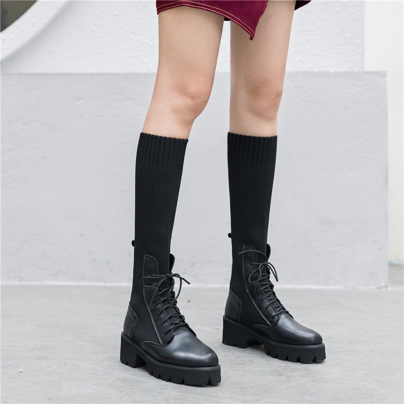 Dilalula New Winter Warm Women Mid Calf Boots Ladies Martins Shoes Woman Real Leather Casual Dating Knitting Short Ladies Boots - 2