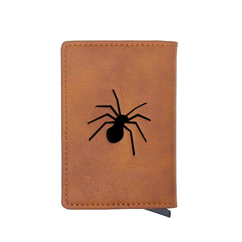 Unique Spider Design Card Holder Wallets Men Women Rfid Leather Short Purse Slim Mini Wallet Small Halloween Gifts Money Bag