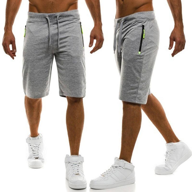 2020 New Men Solid Shorts Casual Male Hot Sale Zipper Cargo Shorts Knee Length Mens Summer Short Pants Homme