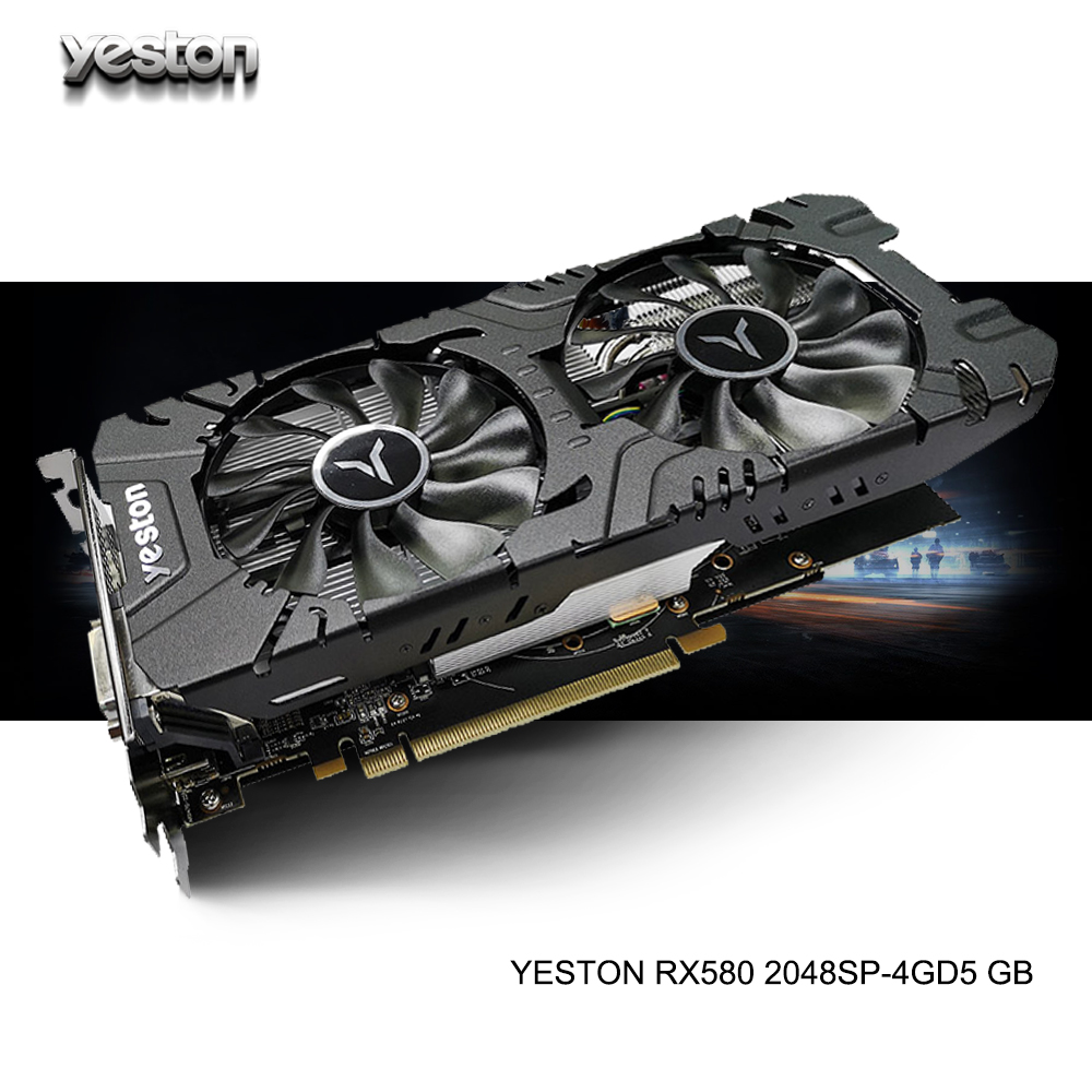 Yeston Radeon RX 580 GPU 4GB GDDR5 256bit Gaming Desktop Computer PC Video Graphics Cards Support DVI/HDMI PCI-E X16 3.0