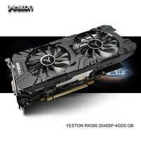 Yeston Radeon RX 580 GPU 4GB GDDR5 256bit ordinateur de bureau de jeu PC cartes graphiques vidéo prise en charge DVI/HDMI PCI-E X16 3.0