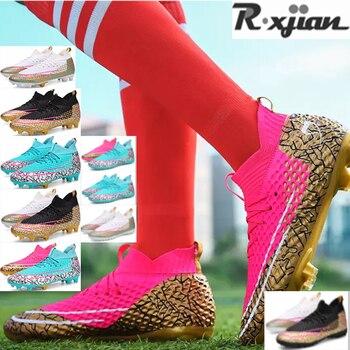 R.XJIAN, zapatos de fútbol de tobillo alto para mujer, transpirables, para exteriores, botas de fútbol para césped, tacos de fútbol para niños AG