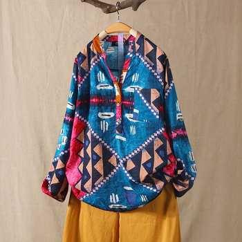 ZANZEA-Blusa Floral para mujer, de gran tamaño, 2020, estampado de caftán, abotonado, manga larga, blusa femenina con cuello en V