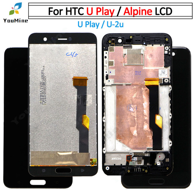 """5.2"""" with Frame For HTC U Play LCD DIsplay + Touch Screen Digitizer Assembly For htc u play U 2u LCD free shipping"""