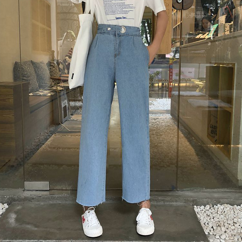 Cheap Wholesale 2019 New Spring Summer Autumn Hot Selling Women's Fashion Netred Casual  Denim Pants FPK5749